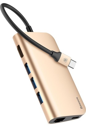 Case 4U Baseus USB C HUB 8 in 1 USB-C HUB Type-c to Multi USB 3.0 HDMI RJ45 Ethernet Micro SD SD Kart Okuyucu OTG Type C HUB Dönüştürücü