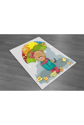 Evperest Şemsiyeli Ayıcıklı Çocuk Halısı 100X140