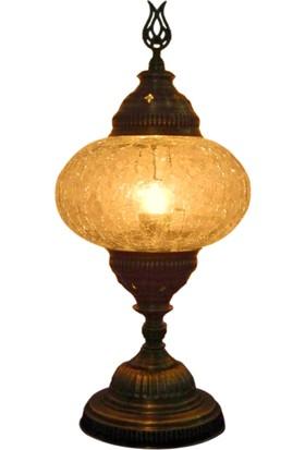 Otantik Osmanlı Dekoratif Çatlak Cam Masa Lambası (No:3)