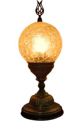 Otantik Osmanlı Dekoratif Çatlak Cam Minik Top Masa Lambası
