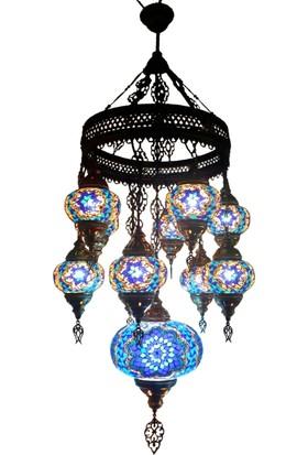Otantik Osmanlı Dekoratif Mozaik 10+1 Ortası Orta Ufo Avizeler (No:2)