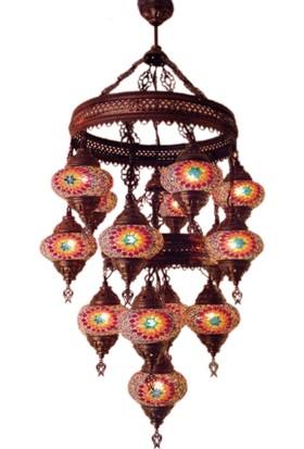 Otantik Osmanlı Dekoratif Mozaik 2 Katlı 10+5 (15 Li) Avizeler (No:2)