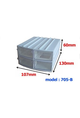 Mimbox 705 Beyaz Plastik 4 Çekmeceli Kutu 107X130X60Mm