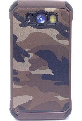 Gpack Samsung Galaxy J7 2016 Kılıf Kamuflaj Tarz Silikon Case + Cam