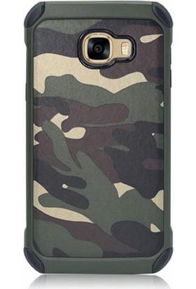 Gpack Samsung Galaxy J7 Prime Kılıf Kamuflaj Tarz Silikon Case + Kalem + Cam