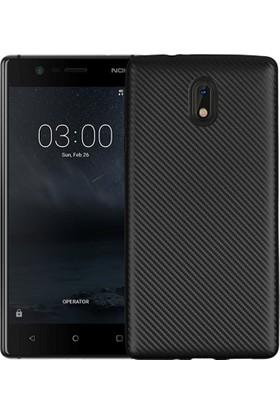 CoverZone Nokia 5 Kılıf Karbon Silikon + Cam