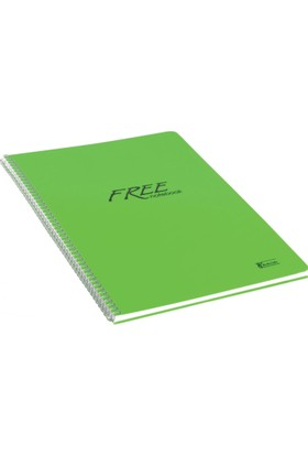 Keskin Color Plastik Kapak Spiralli Free Defter A4 80 Yaprak Kareli - Yeşil