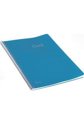 Keskin Color Plastik Kapak Spiralli Cool Defter A4 72 Yaprak Kareli - Mavi