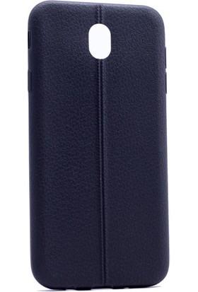 Kny Samsung Galaxy J7 Pro 2017 Kılıf Deri Desenli Silikon + Cam