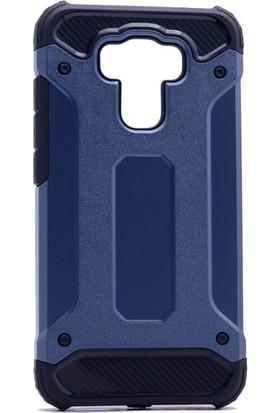 Kny Asus Zenfone 3 Max 5.5'' ZE553KL Kılıf Çift Katmanlı Armour Case + Cam