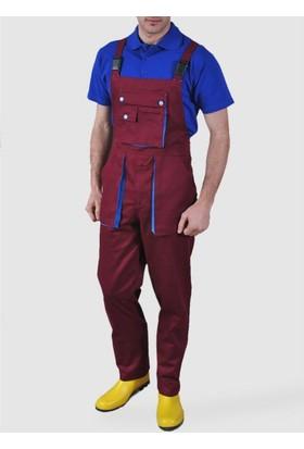 Şensel Taraftar Bahçıvan Tulum Askılı İş Tulum İş Elbisesi Bordo Mavi
