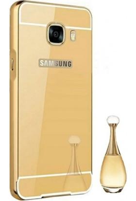 Gpack Samsung Galaxy A8 2016 Kılıf Aynalı Metal Bumper Case + Cam