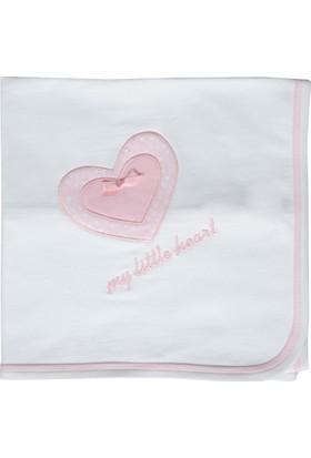 Happy Moon Kalp Nakışlı Tek Kat Battaniye - Beyaz