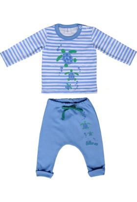 Happy Moon Kaplumbağa Baskılı Mavi Çizgili Tshirt ve Mavi Şalvar Alt