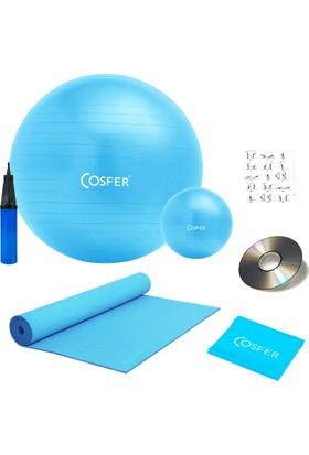 Cosfer 7 Li Pilates Seti Plates Topu Lastiği Bandı Yoga Minderi Matı Set Turkuaz
