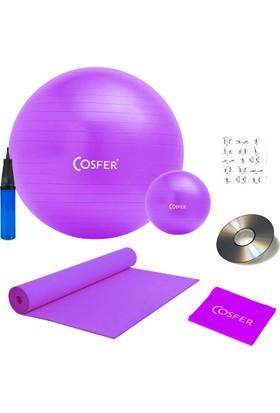 Cosfer 7 Li Pilates Seti Plates Topu Lastiği Bandı Yoga Minderi Matı Set Mor