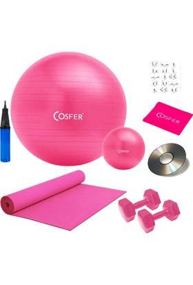 Cosfer 8 Li Pilates Seti, Pilates Minderi, 1 Kg Dambıl, Jimnastik Topu, Bandı, Lastiği Plates Set Fuşya