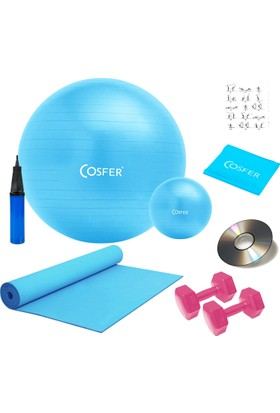 Cosfer 8 Li Pilates Seti, Pilates Minderi, 1 Kg Dambıl, Jimnastik Topu, Bandı, Lastiği Plates Set Turkuaz