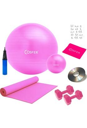Cosfer 8 Li Pilates Seti, Pilates Minderi, 1 Kg Dambıl, Jimnastik Topu, Bandı, Lastiği Plates Set Pembe
