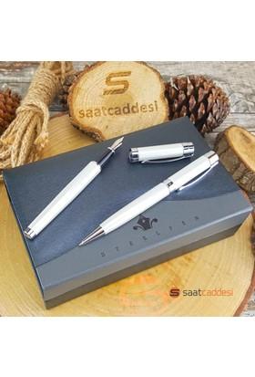 Steelpen Steel Pen Beyaz Metal Kalem Seti
