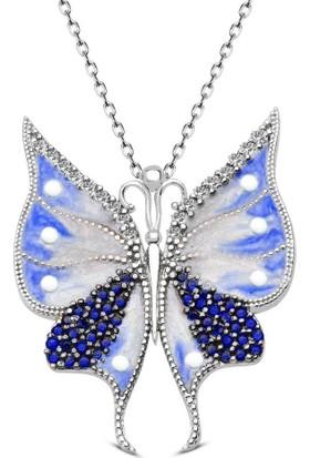 Pigoda 925 Ayar Gümüş Mavi Beyaz Mineli Kelebek Kolye + Kadife Kutu
