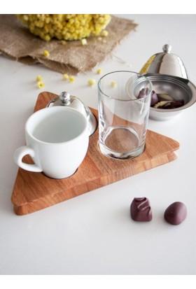 İkram Dünyası Narin Ahşap Standlı Kahve Seti