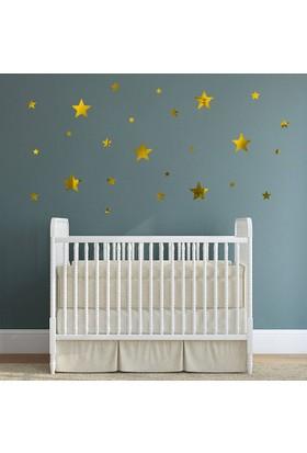 DekorLoft Altın Rengi Aynalı Yıldızlar Çocuk Odası Sticker CS-590