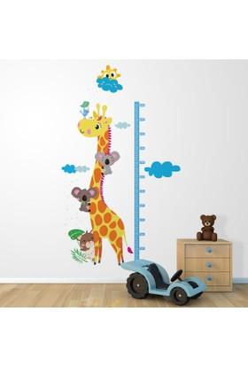 DekorLoft Zürafa ve Koala Boy Ölçer Sticker DBC34 Sarı