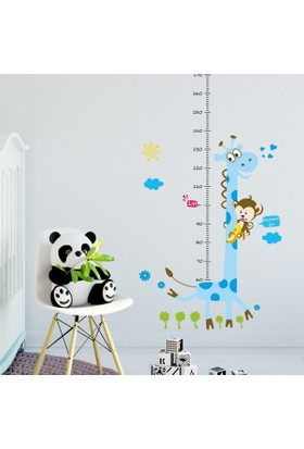 DekorLoft Zürafa ve Maymun Boy Ölçer Sticker DBC35 Mavi