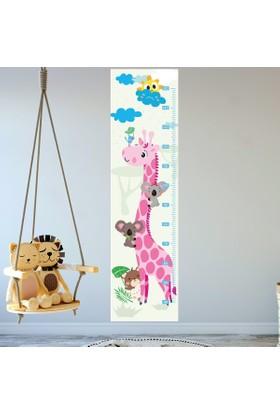 DekorLoft Zürafa ve Arkadaşları Boy Ölçer Sticker DBC8 Pembe
