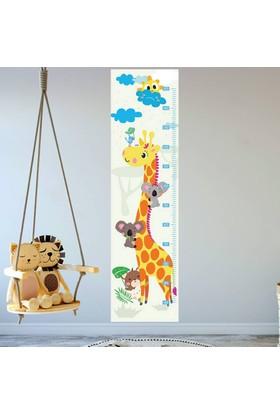 DekorLoft Zürafa ve Arkadaşları Boy Ölçer Sticker DBC8 Sarı