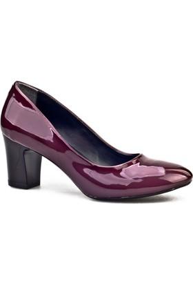 Cabani Topuklu Günlük Kadın Ayakkabı Bordo Rugan