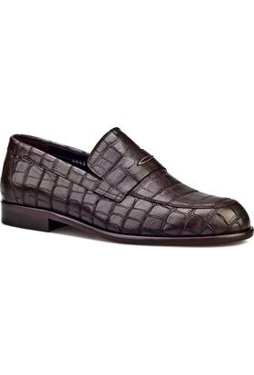 Cabani Croco Baskılı Kösele Enjeksiyonlu Klasik Erkek Ayakkabı Kahve Croco Deri