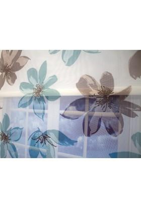 Brillant July 2052-2 Işıltılı Çiçek Desenli Çiftli Sistem Tül Stor Perde Etek Dilimli