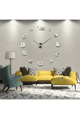 Dıy Clock Yeni Nesil 3D Duvar Saati Model 4 (Gümüş)