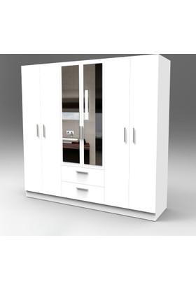 Yurudesign Porter Gardırop 6 Kapak 2 Çekmece Aynalı Beyaz