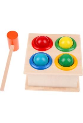 Wood Kids Ahşap 4'lü Çekiç Oyunu Hammer Case Çekiçli Tak Çak Oyunu