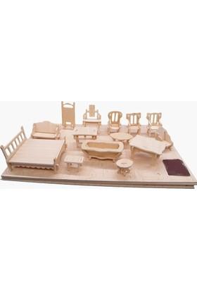 Woodcraft 184 Parça Minyatür Boyanabilir Ev Eşyaları Maketi 3D Ahşap Oyuncak Mobilya Seti