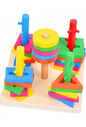 Wooden Toys 5'li Vidalama Oyunu - Bul Tak Oyun Seti Eğitici Ahşap Oyuncak