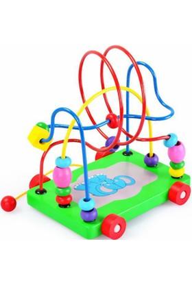 Wooden Toys Eğitici Filli Ahşap Koordinasyon Boncuklu Labirent Ahşap Helezon Oyuncak