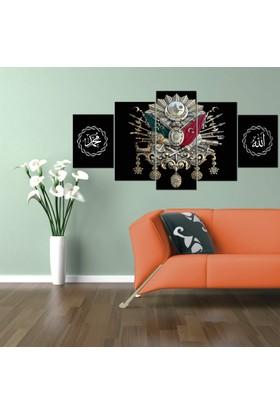 Osmanlı Arması 5 Parça Kanvas Tablo Siyah