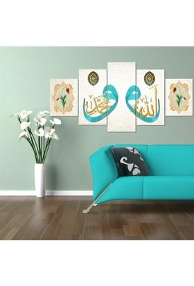 Vav-Allah-Muhammed 5 Parça Kanvas Tablo