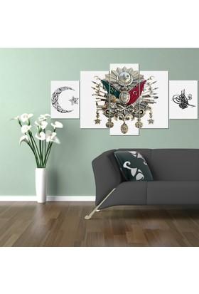 Osmanlı Arması Beyaz 5 Parça Kanvas Tablo