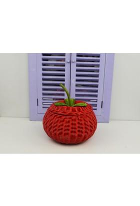 Cosıness Hasır Dekoratif Elmalı Sepet - Kırmızı