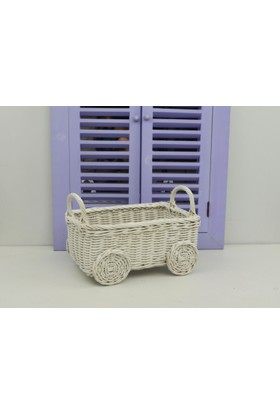 Cosıness Hasır Dekoratif Bebek Arabalı Sepet - Beyaz