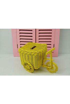 Cosıness Hasır Dekoratif Bisiklet - Sarı