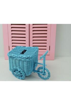 Cosıness Hasır Dekoratif Bisiklet - Mavi