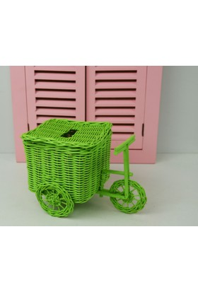 Cosıness Hasır Dekoratif Bisiklet - Yeşil