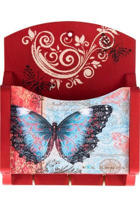 Orta Sofa Mavi kelebek kırmızı anahtar kutusu