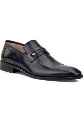 Cabani Kemerli Kösele Klasik Erkek Ayakkabı Siyah Antik Deri